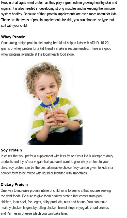 Protein supplements for kids