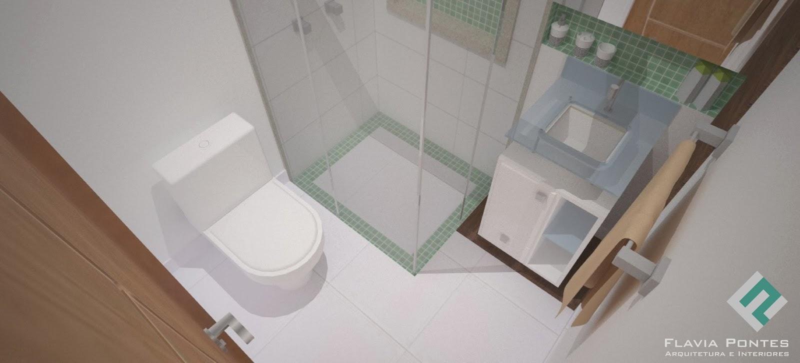 Flavia Pontes Arquitetura -> Box Para Banheiro Muito Pequeno