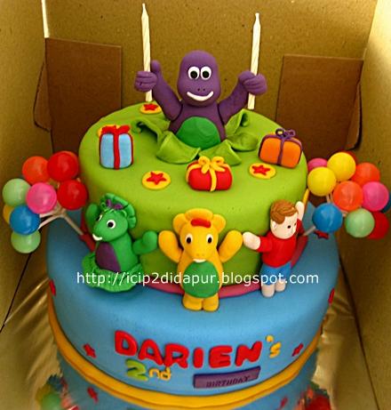 Yonadas Barney Pop Up Birthday Cake Cupcakes for Darien
