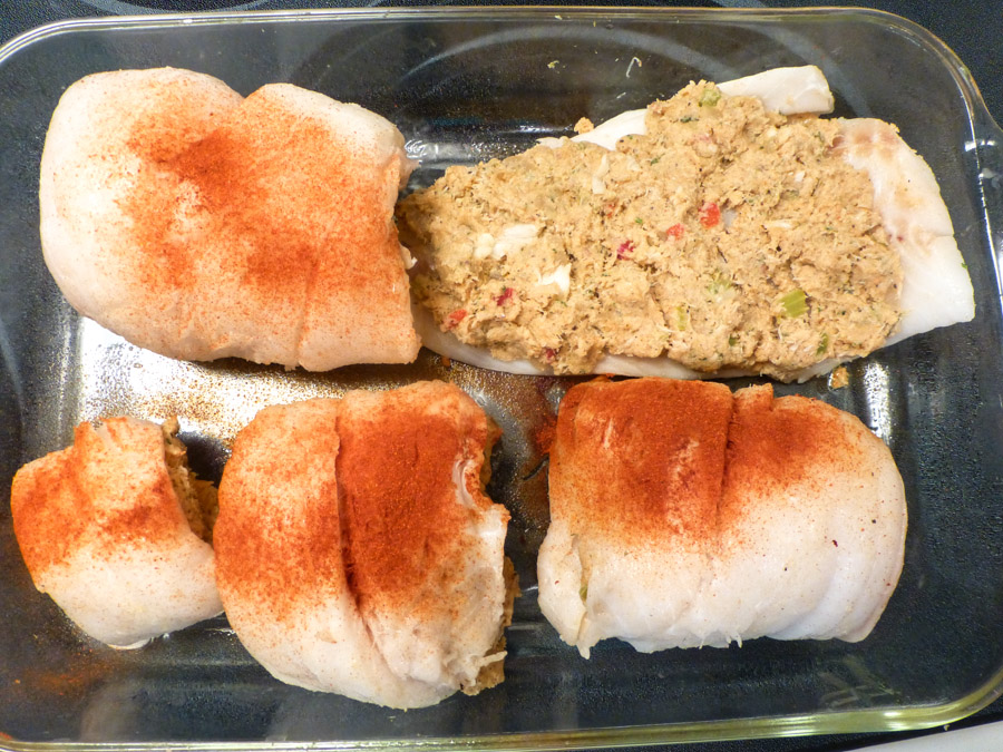 Pam 39 s midwest kitchen korner crab stuffed orange roughy for Crab stuffed fish