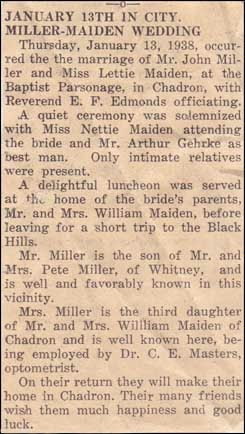 Lettie Maiden-John Miller married