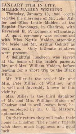 Lettie Maiden-John Miller married