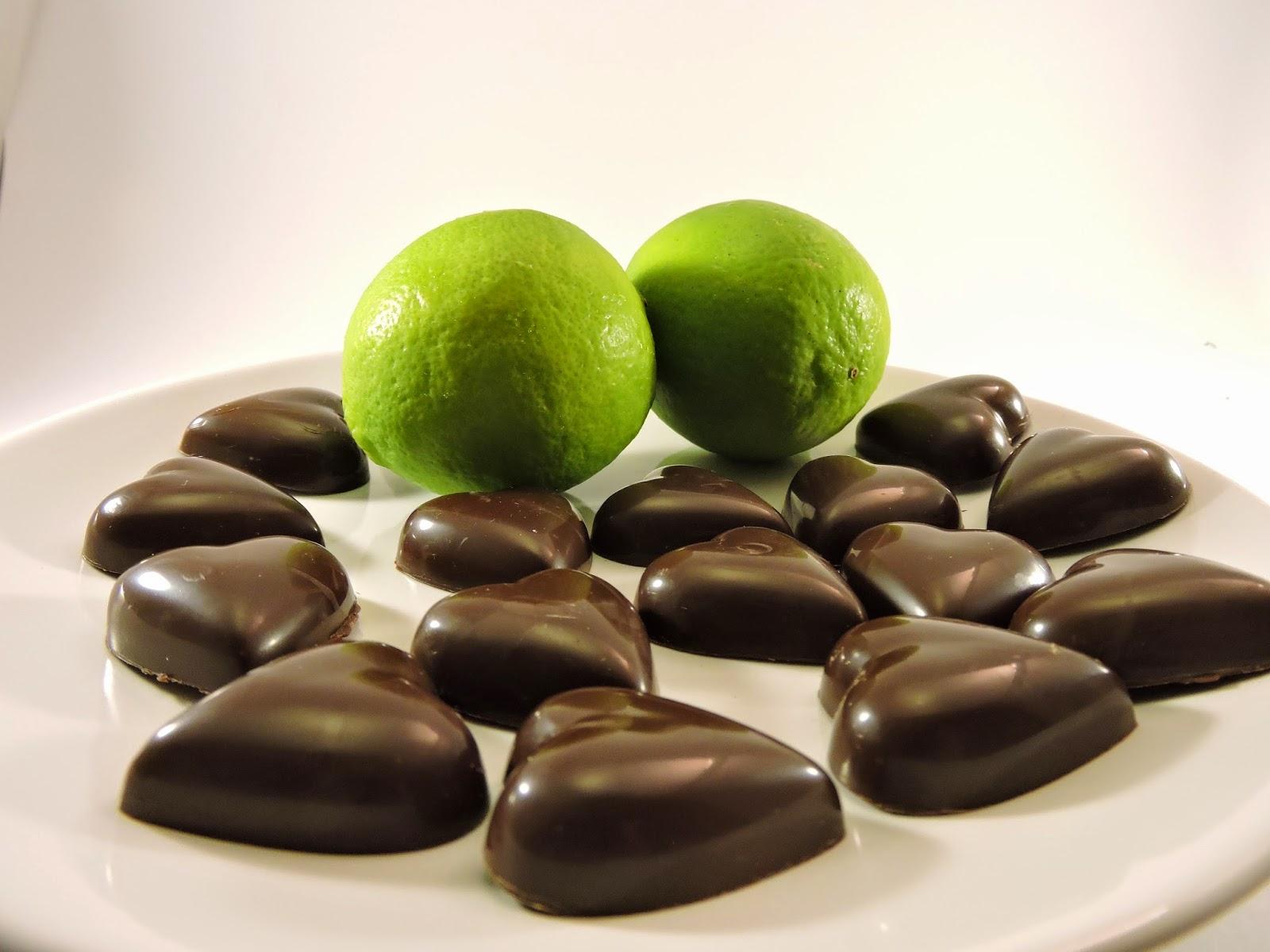 chocolats  ganache citron vert gingembre