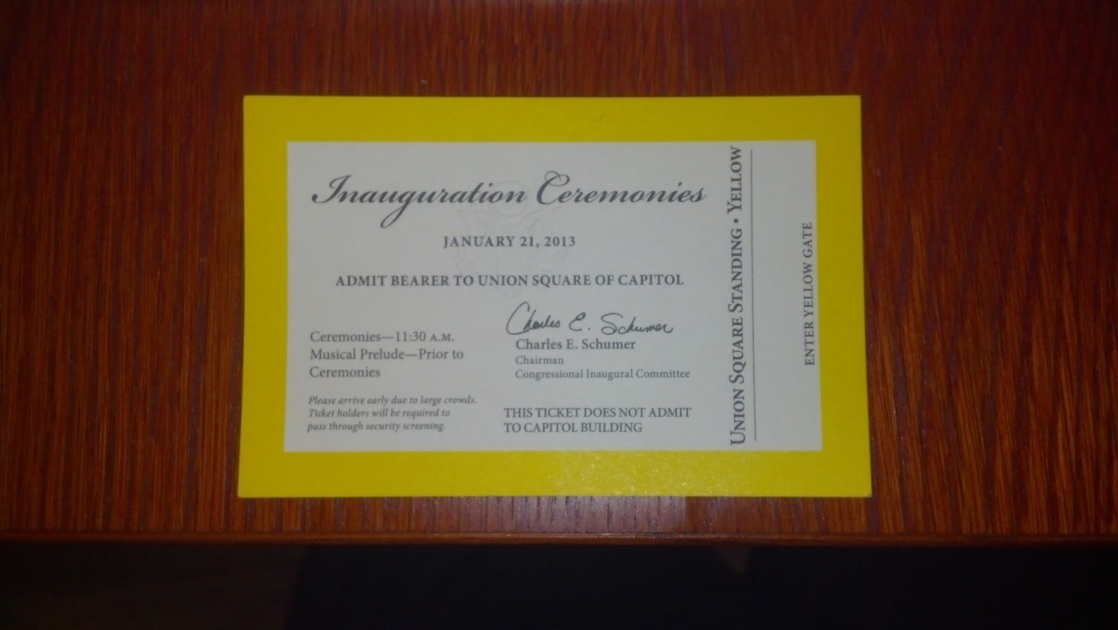inauguration essay for ticket