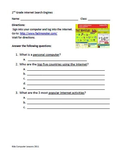 Learning the Internet for Second Grade with worksheets – Bloom ...