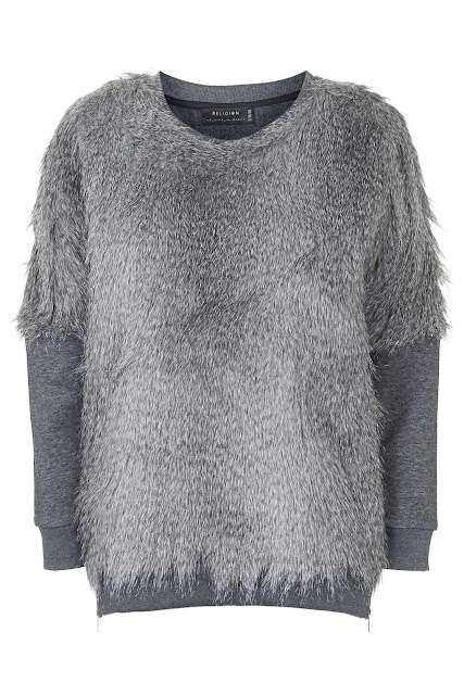 grey furry jumper, religion grey jumper,
