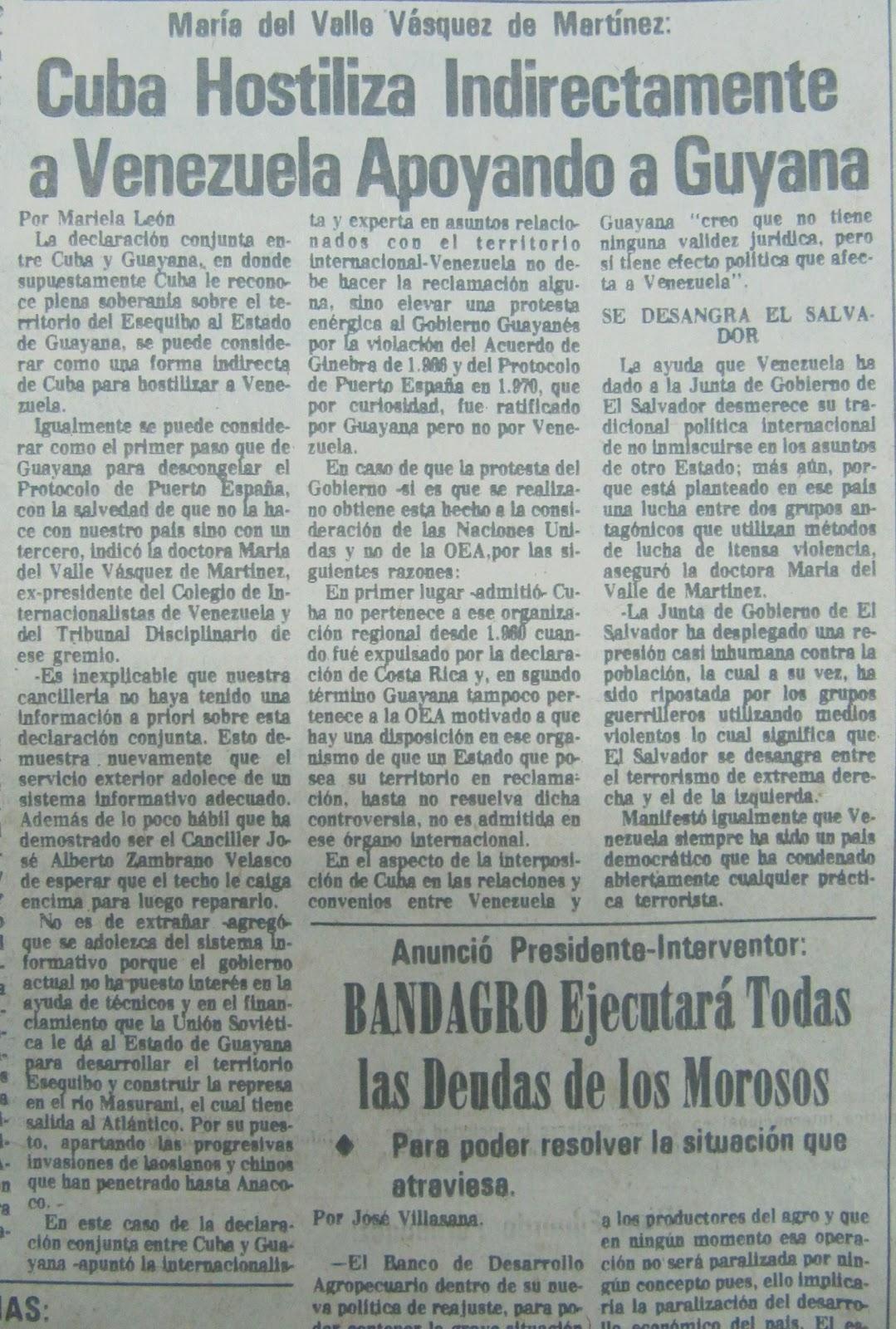 Venezuela vs guyana 16-01-1981+Maria+del+Valle+V%25C3%25A1squez+de+Martinez++Cuba+Hostiliza+Indirectamente+a+Guyana+Apoyando+a+Guyana