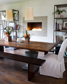 Fantastic View of Traditional Dining Room using Wooden Dining Sets With Benches on the Brown Floor