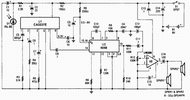 Circuit Diagram  Wireless Ir Headphone Receiver