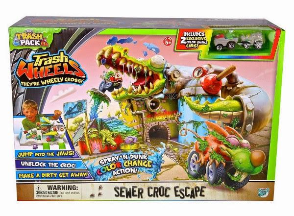 TOYS : JUGUETES - TRASH PACK : Los Basurillas  Trash Wheels : Sewer Croc Escape | Alcantarilla Cocodrilo  Producto oficial 2014 | A partir de 5 años