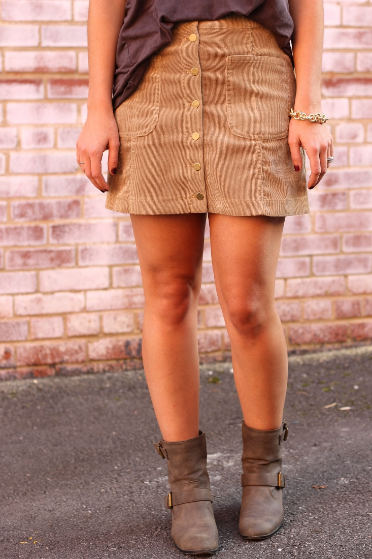 corduroy button front miniskirt with moto boots