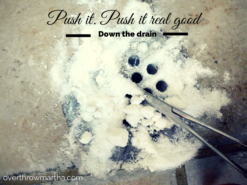 Cleaning a shower drain naturally with baking soda washing soda and salt #DIY