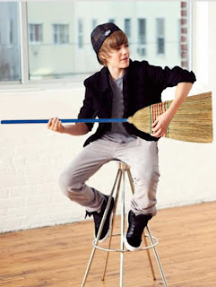 Justin Bieber and a broom