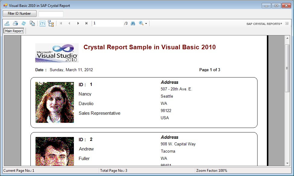visual basic source code how to call crystal report in visual