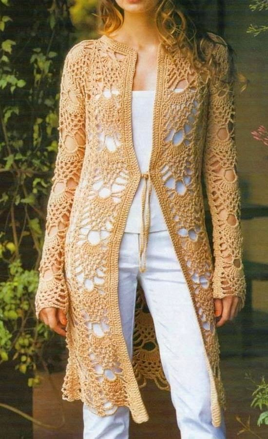 Free Crochet Patterns For Cardigan Sweaters : Stylish Lace Cardigan For Women