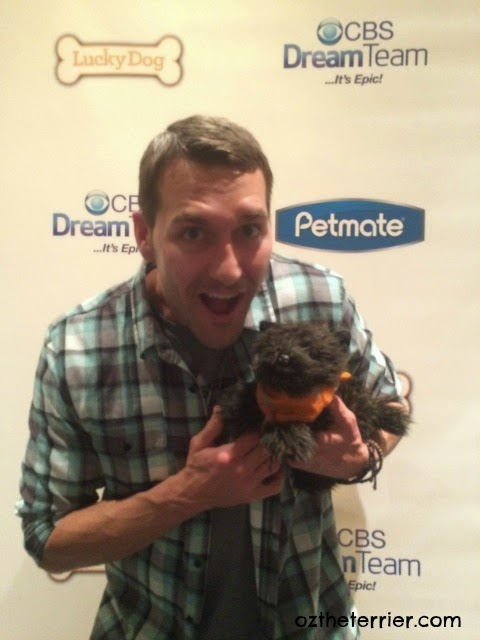 Oz the Terrier with Brandon McMillan of CBS' Lucky Dog
