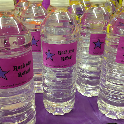 Rock star refuel water bottles for a rock star birthday party www.thebrighterwriter.blogspot.com