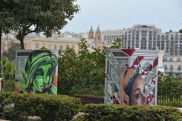 Graffiti St. Julians telephone booth
