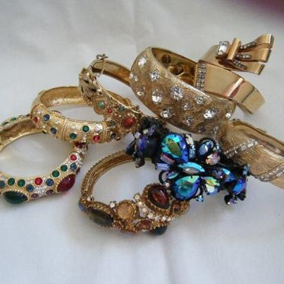 "... , and dangles. My favorite is the huge 5"" bracelet and wear it allot"