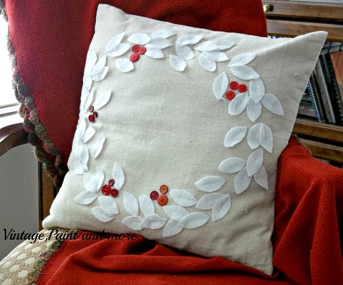 A handmade christmas pillows vintage paint