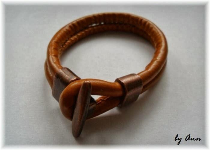 bransoletka brązowy rzemień szyty i miedź