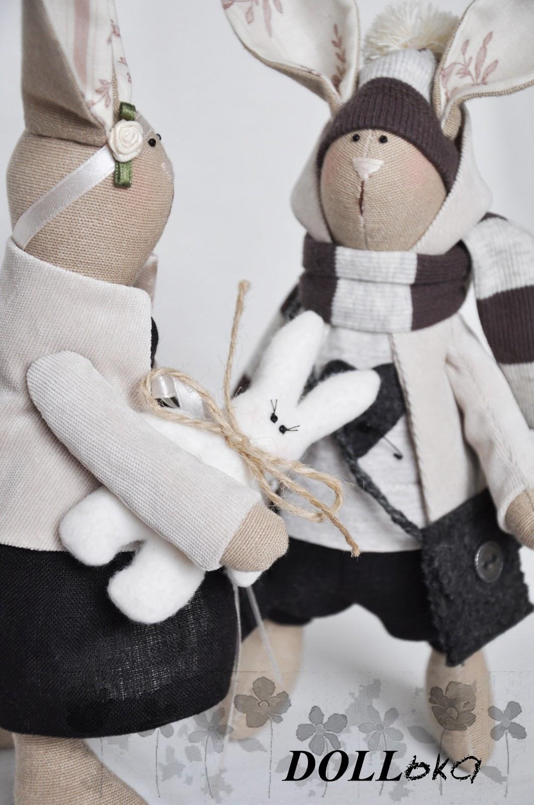 Зайцы интерьерная игрушка ручной работы