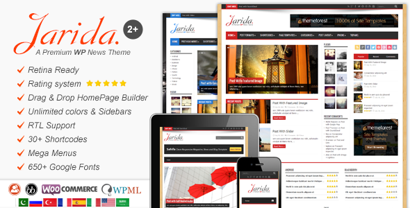 Free Download Jarida V2.3.1 Responsive WordPress News, Magazine, Blog