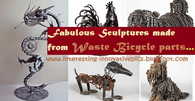 5 fabulous sculptures made from waste bicycle parts for Waste things decoration
