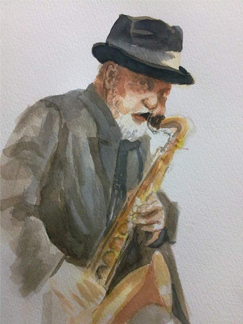 saxofonista en acuarela