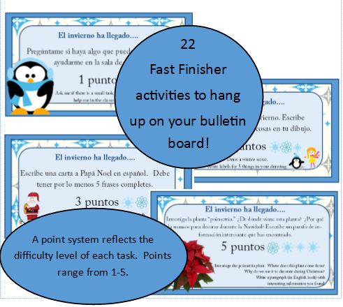 http://www.teacherspayteachers.com/Product/Fast-Finishers-Winter-Packet-for-Spanish-classrooms-170487
