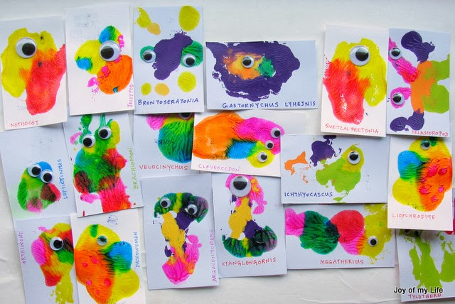 Kids Craft: Valentine Cards: Prehistoric Splotch Creatures
