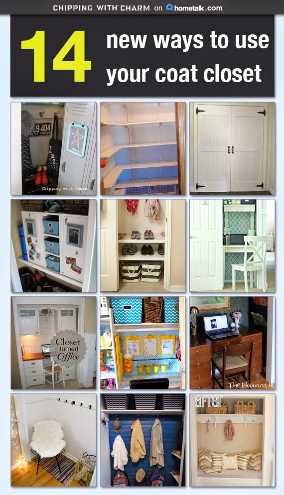 Chipping with Charm: 14 Ways to update your coat closet on Hometalk. www.chippingwithcharm.blogspot.com
