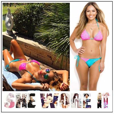 Bikini, Celebrity Fashion, Celebrity Style, Contrast, Halterneck, House Of CB, Lace Detail, Neon Pink, Nicole Scherzinger, Stretch, Tahiti, Turquoise,