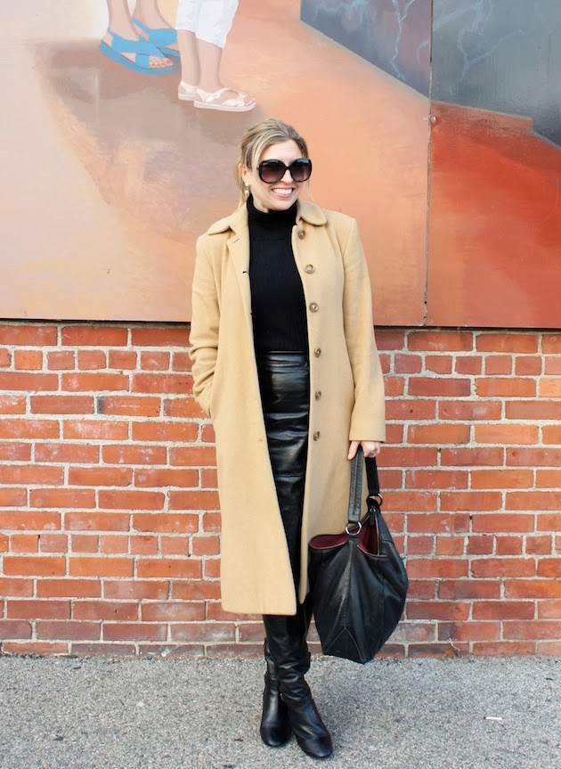 black leather skirt, camel coat