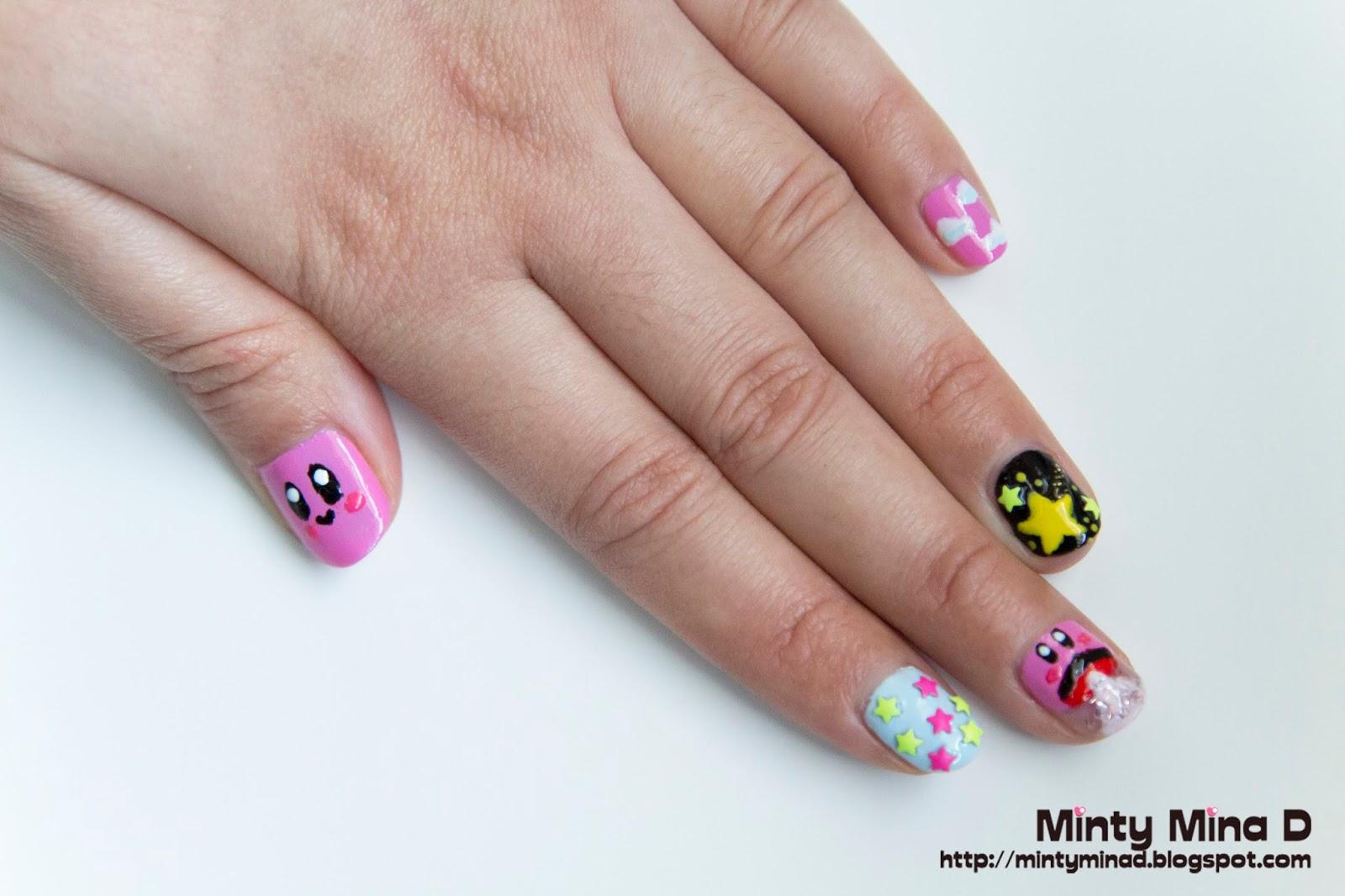 Minty Mina D: Kirby nail design and BornPrettyStore nail art product ...