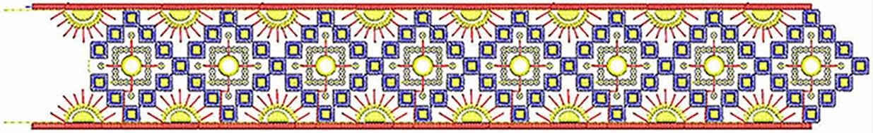 Meetkundige borduurwerk op Kant grens