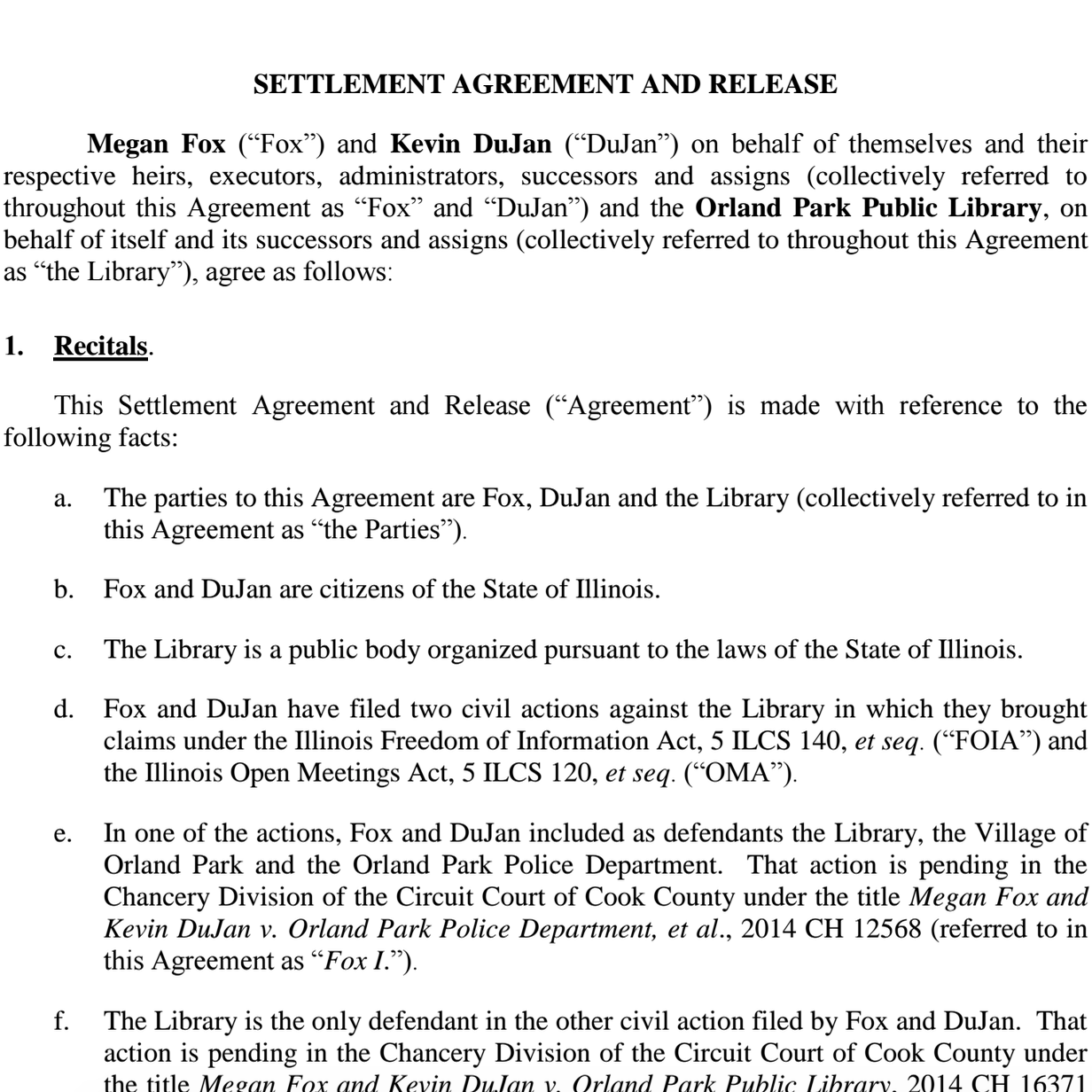Hereu0027s The Settlement Agreement And Release (link) Between Megan Fox  (link), Kevin DuJan, And The Orland Park Public Library (link), Signed By  The Parties ...
