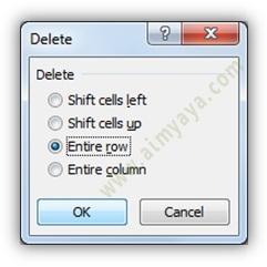 Gambar: menghapus seluruh baris di Microsoft Excel