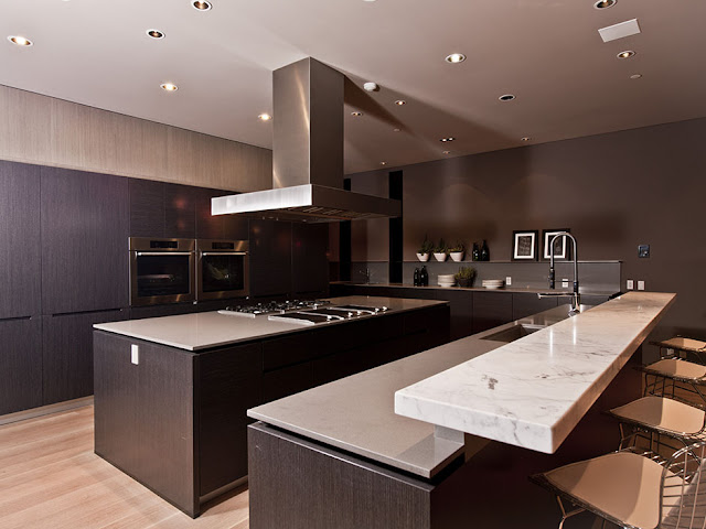 Photo of modern kitchen interiors with dark brown furniture