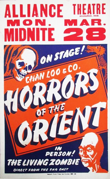 free printable, printable, classic posters, free download, graphic design, movies, retro prints, theater, vintage, vintage posters, horror movie, Horrors of the Orient, Chan Loo & Co. - Vintage Theater Poster