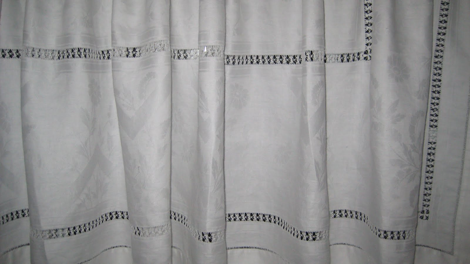 Restored Treasures Too: White linen shower curtain and window tiers ...