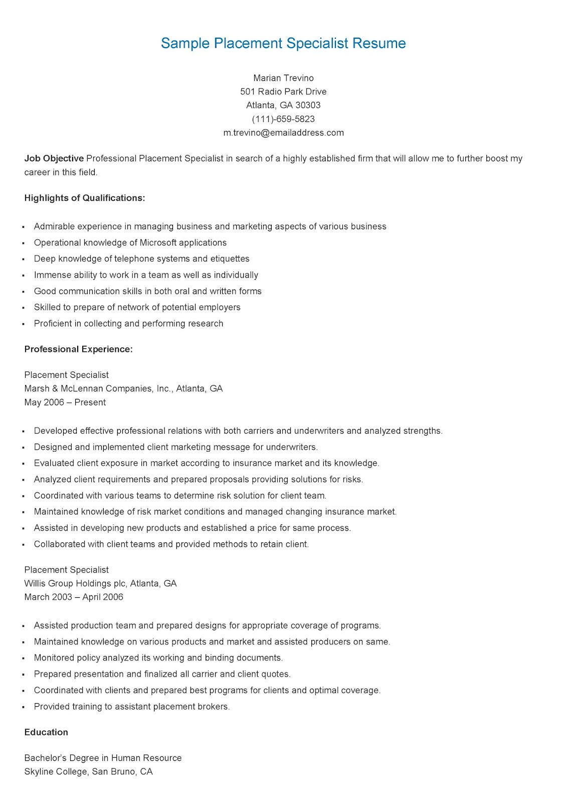 resume samples  sample placement specialist resume