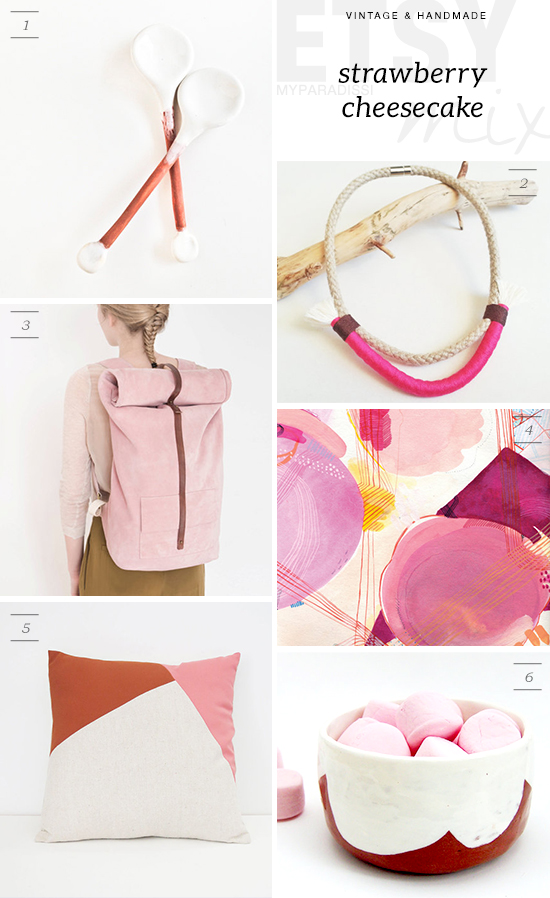 Handmade etsy finds for the home and self in pink and neutral shades.