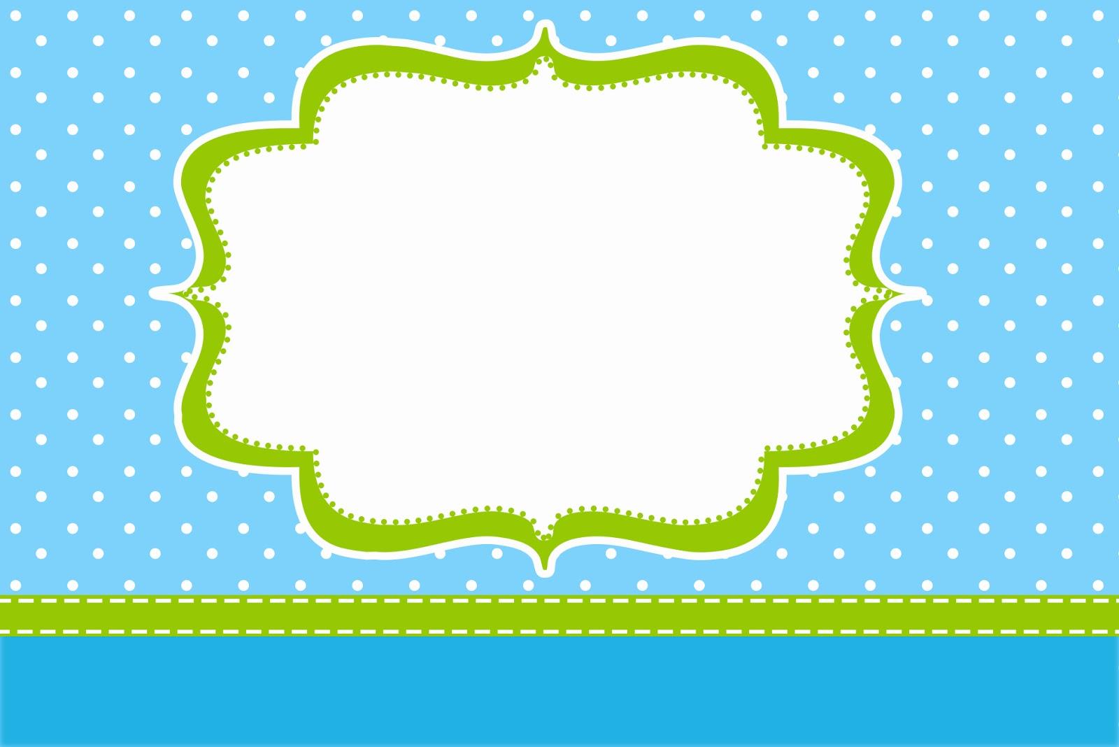 Poá Azul e Verde Limão - Kit Completo com molduras para convites, rótulos para guloseimas ...