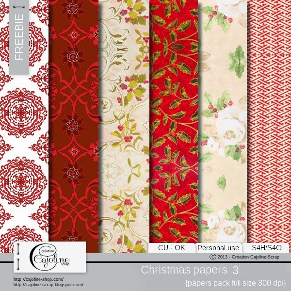 Freebie - Christmas papers CU 3