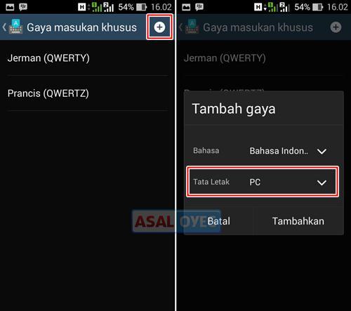 menampilkan baris nomor pada keyboard Android
