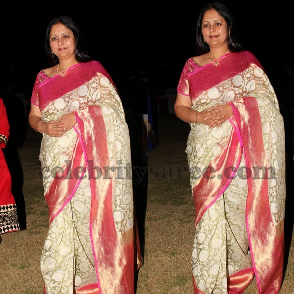 Jayasudha Brasso Saree in Off White