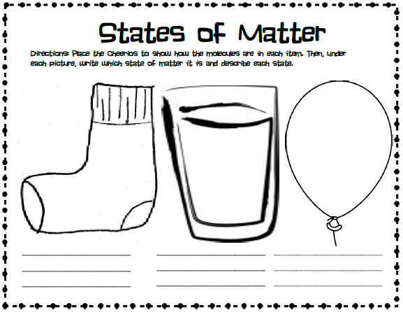 Me and My Gang Matter with Cheerios – States of Matter Worksheet High School