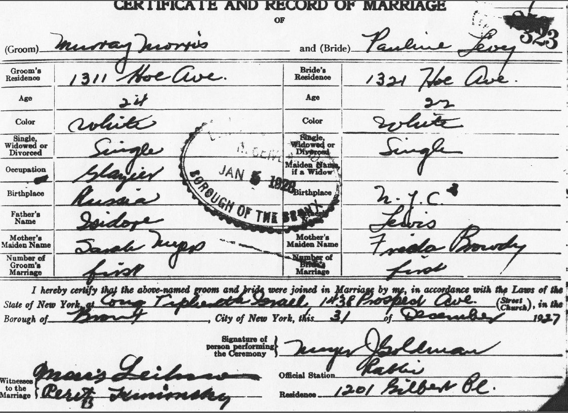 Going the extra yad october 2014 bronx county new york certificate and record of marriage no 323 31 december 1927 murray morris and pauline levy municipal archives new york city aiddatafo Images