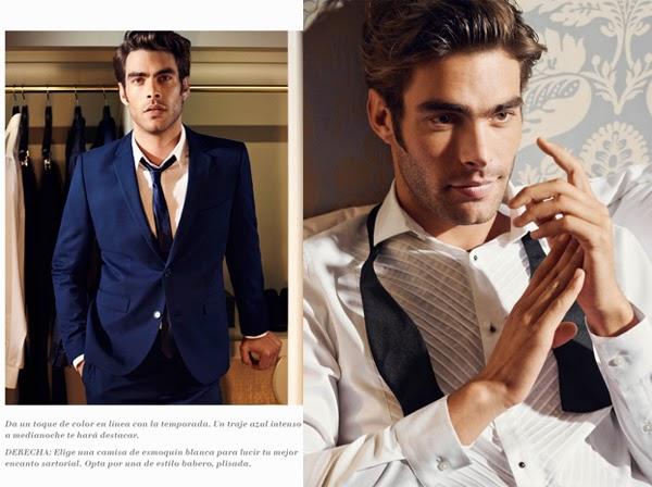 H&M hombre traje azul camisa esmoquin